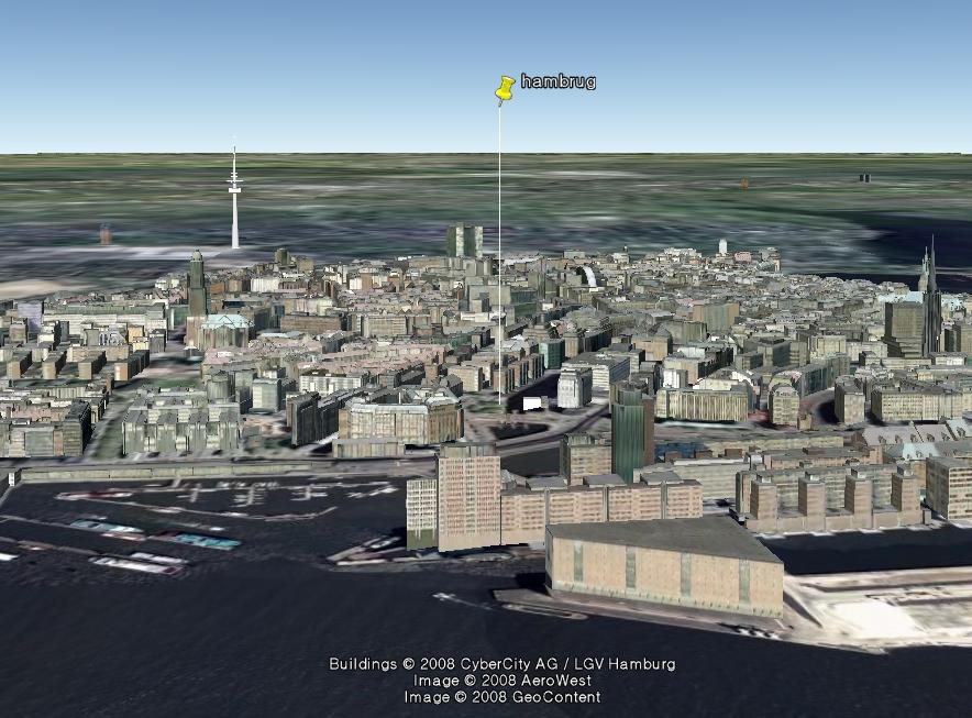 구글어스(Google Earth)의 독일 함부르크(Hamburg) 3D 모델