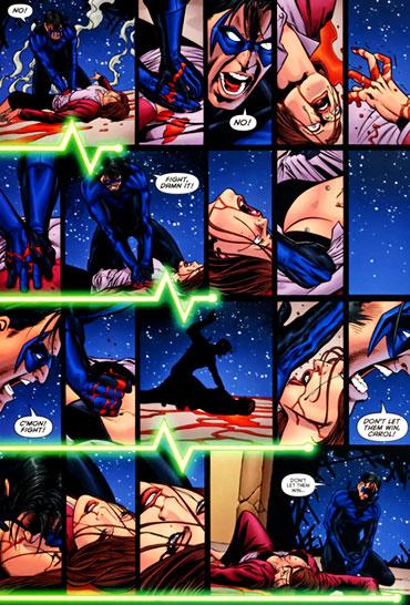 절규에 가까운 나이트윙의 응급처치에도 캐롤은 결국 죽음을 맞게 된다 ⓒ DC COMICS