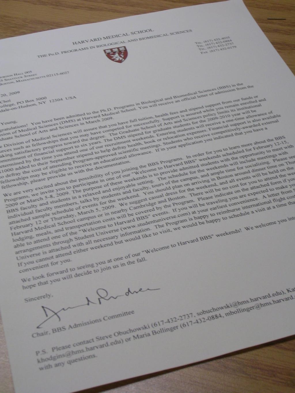 Harvard Admission Letter