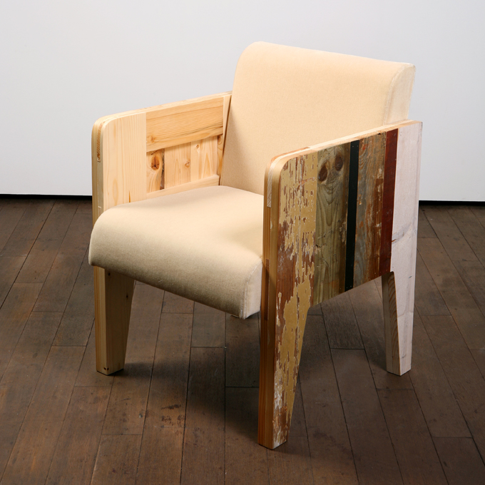 scrap wood chair with leather
