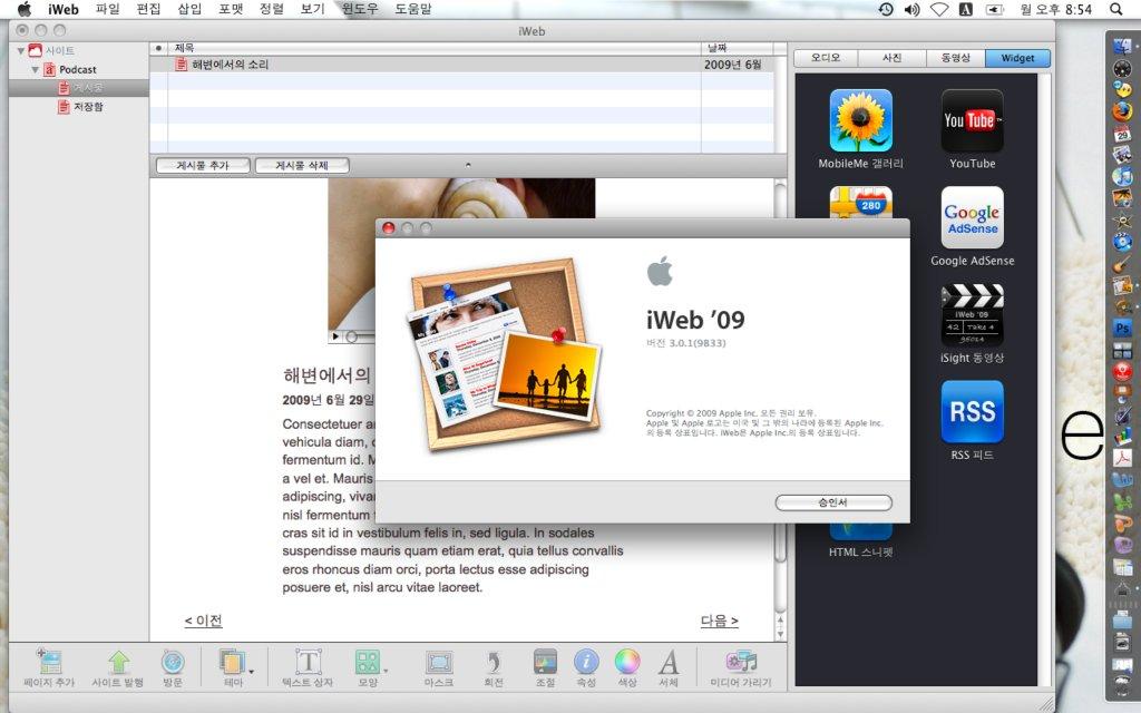 iLife09의 iWeb '09