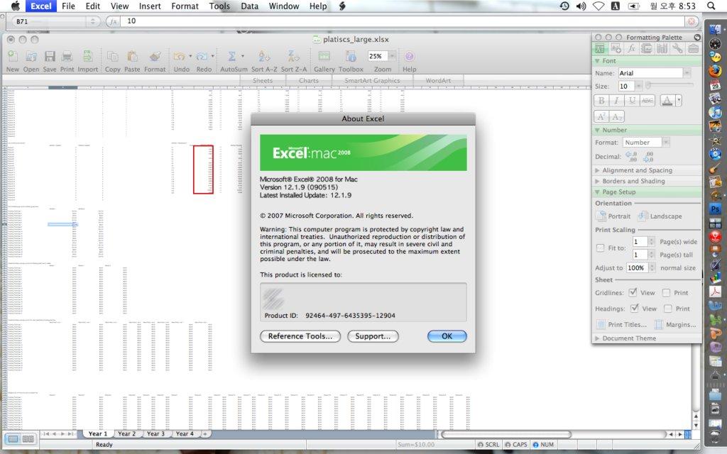 맥용 Excel 2008 실행