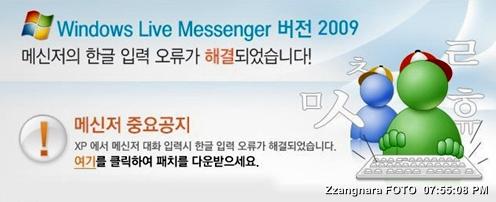 MSN 메신저 한글 버그